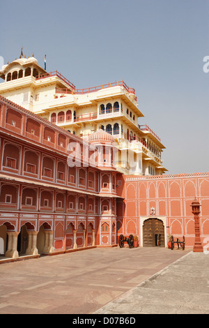 Chandra Mahal in City Palcae, Jaipur, Rajasthan, India - Stock Photo