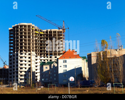Construction of new residential buildings - Stock Photo
