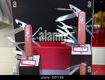 Swiss Army Knife Display In Shop Window Uk Stock Photo