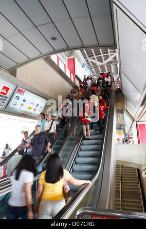 Escalator to the Skytrain in Bangkok - Stock Photo