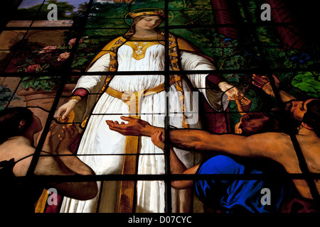 STAINED-GLASS WINDOW SAINT ADELAIDE GIVING ALMS POOR STAINED GLASS A. BERANGER FROM CARTOON LARIVIERE ROYAL CHAPEL - Stock Photo
