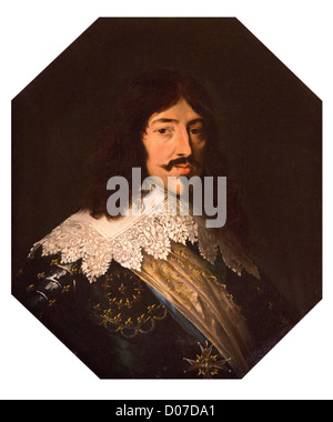 PORTRAIT LOUIS XIII (1601-1643) KING FRANCE FATHER LOUIS XIV KING'S SALON CHATEAU DE MAINTENON EURE-ET-LOIR (28) - Stock Photo