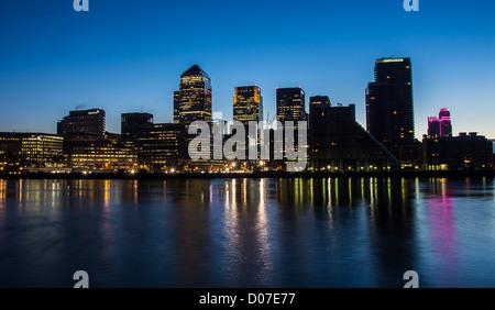 London Docklands Development by night - Stock Photo