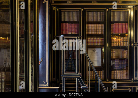 NAPOLEON III STYLE LIBRARY IN WHICH SOME WORKS MADAME DE MAINTENON ARE EXHIBITED CHATEAU DE MAINTENON EURE-ET-LOIR - Stock Photo