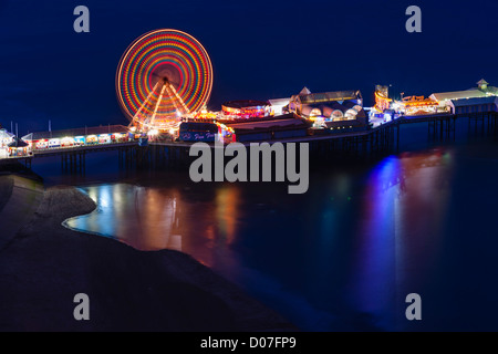 Blackpool, Lancashire - view from the observation balconies at the top of Blackpool Tower. Central Pier ferris wheel - Stock Photo