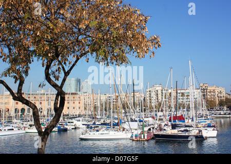 Boats in Barcelona city, Spain - Stock Photo