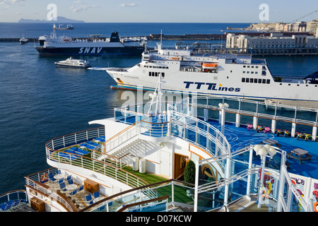 Ships in Naples Port,Campania, Italy, Europe - Stock Photo