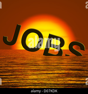 Jobs Word Sinking Showing Job Layoffs And Unemployment - Stock Photo