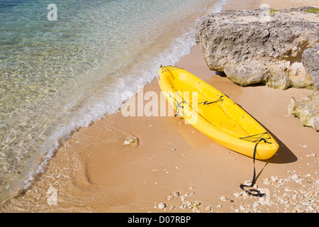 Kayak in Hog Sty Bay, George Town, Grand Cayman, Cayman Islands, Greater Antilles, Caribbean - Stock Photo