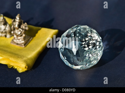 Close-up of showpieces on a market stall, Delhi, India - Stock Photo