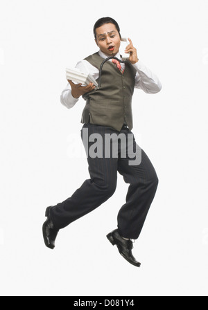 Mime talking on the phone - Stock Photo