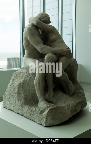 The Kiss, a famous sculpture by Auguste Rodin, on display at the Turner Contemporary, Margate, Kent. - Stock Photo