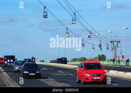 D-Cologne, Rhine, Rhineland, North Rhine-Westphalia, NRW, Rheinpark, Rhine park, Rheinseilbahn, Cologne Cable Car - Stock Photo