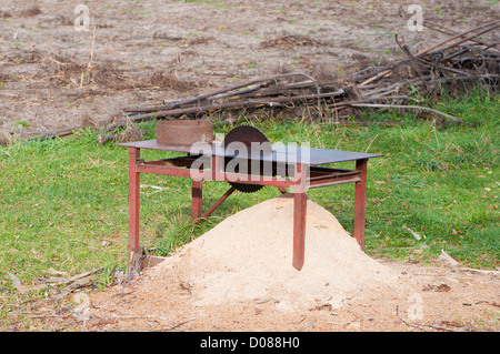 Old circular saw blade on the grass - Stock Photo