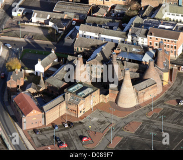 aerial view of the Gladstone Pottery Museum in Longton, Stoke-in-Trent - Stock Photo