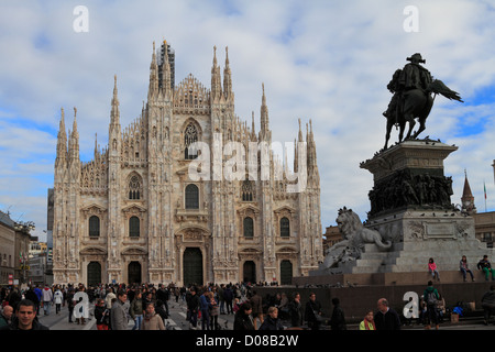 The Duomo and Vittorio Emanuele II Statue in Piazza Duomo, Milan, Italy, Europe. - Stock Photo