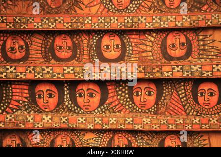 Africa, Ethiopia, Gondar, Painted ceiling in the Church of Debre Birhan Selassie painting of 80 cherubic faces - Stock Photo