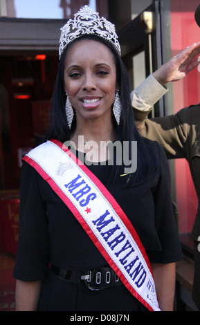 Mrs. Maryland America  Raquel Riley Thomas poses for pictures outside Madame Tussauds Washington D.C Washington - Stock Photo