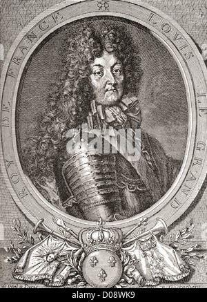Louis XIV, 1638 – 1715, aka Louis the Great or the Sun King. Bourbon monarch who ruled as King of France and Navarre. - Stock Photo