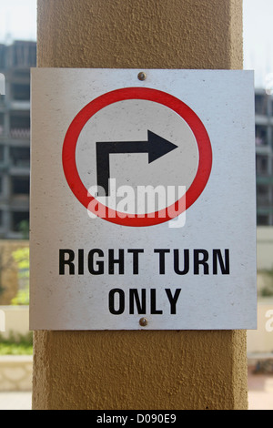 A noticeboard indicating Right Turn Only - Stock Photo