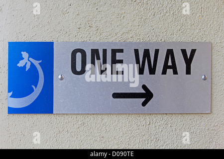 A noticeboard indicating One Way