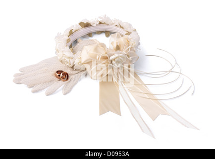 Wedding wreath, gloves and golden rings on white background. Isolated. - Stock Photo
