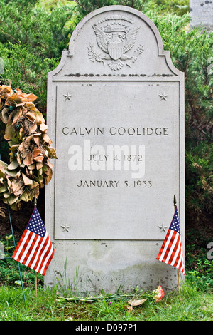 The gravestone of Calvin Coolidge at his grave site in Plymouth, Vermont. - Stock Photo