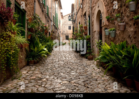 Valldemossa, hilltop, town, in, summer, Majorca - Stock Photo