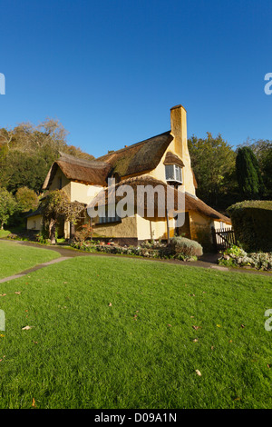 Thatched Cottage in Selworthy Village on The Holnicote Estate. Exmoor National Park. Somerset. England. UK.