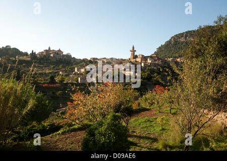 Valldemossa, hilltop, town, in, summer, Majorca - Stock Photo