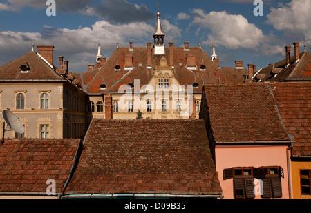 The ancient rooves of Sigishoara, medieval saxon city in Transylvania, Romania, Europe - Stock Photo