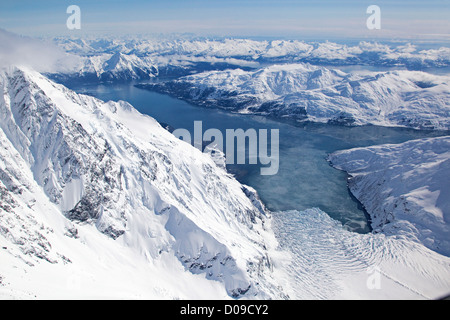 Aerial view of Harriman Fjord, Surprise Glacier, Chugach Mountains, Alaska, US - Stock Photo