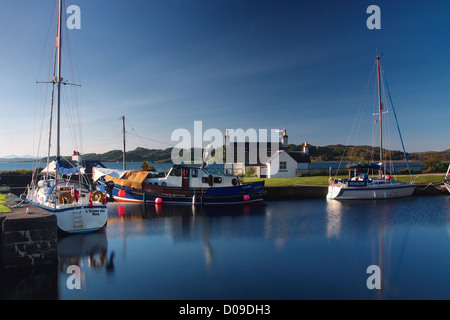 The Crinan Canal at Crinan Basin looking on to the Sound of Jura, Argyll & Bute - Stock Photo