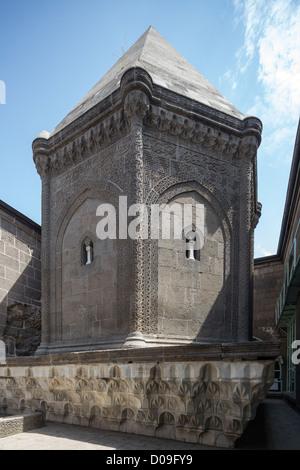 view fo tomb tower, Mahperi Huand Hatun Complex, Kayseri, Anatolia, Turkey - Stock Photo