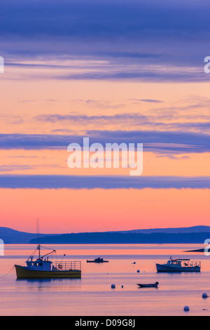 Sunrise in silent waters at Bar Harbor, Acadia N.P, Maine. - Stock Photo