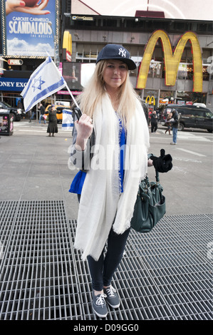 Pro-Israel demonstrator prepares to march in protest against Palestinian rocket attacks in Israel, Nov.18, 2012. - Stock Photo