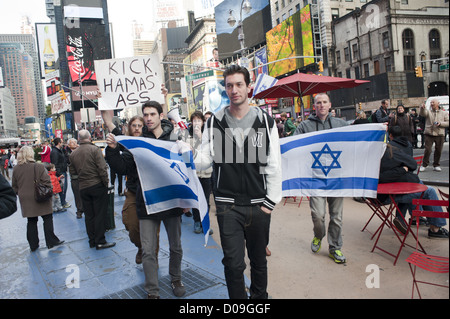 Pro-Israel demonstrators march through Times Square in Manhattan protesting Palestinian rocket attacks in Israel, - Stock Photo