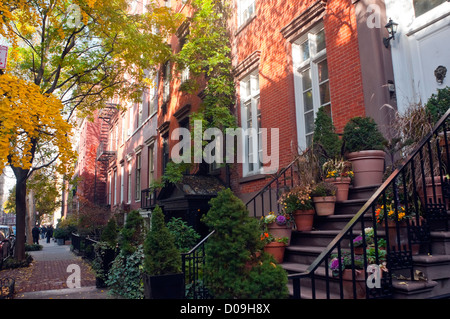 New York, NY - 20 November 2012 Greenwich Village houses in the Fifth Avenue Historic District - Stock Photo