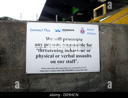 Warning Sign Threatening Behaviour on Staff Prosecute Prosecution Dartford Crossing Tolls - Stock Photo