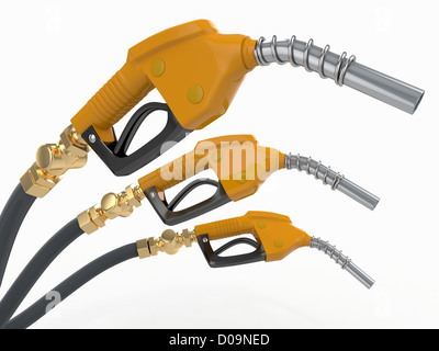 Gas pump nozzles o0n white isolated background. 3d - Stock Photo