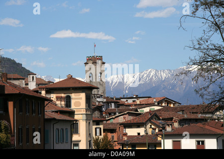 the town of Lovere, Lombardy, north Italy - Stock Photo
