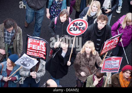 London, UK - 21 November 2012: a participant holds a sign reading 'no cuts' during the march organised by the National - Stock Photo