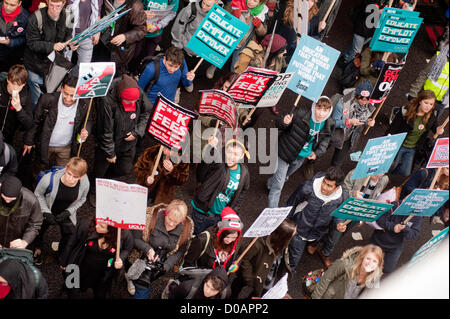 London, UK - 21 November 2012: thousand of students take part in a march organised by the National Union of Students - Stock Photo