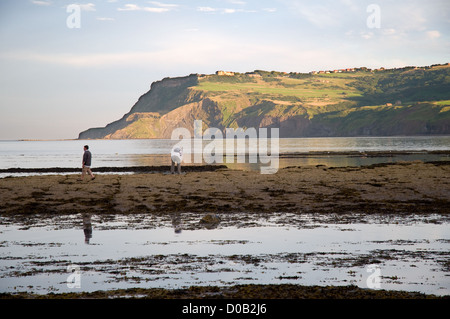 As sun sets over Robin Hood's Bay holiday makers venture out onto the rocks and pools as the tide retreats. The - Stock Photo
