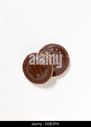 Jaffa Cakes on a white background - Stock Photo