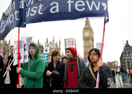 Student protest against rise in tuition fees, London, 21/11/2012 - Stock Photo