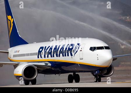 Plane at Malaga airport Costa del Sol Andalusia Spain - Stock Photo