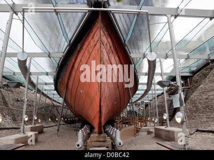 The iron hull of the SS Great Britain,dry dock in Bristol, England - Stock Photo