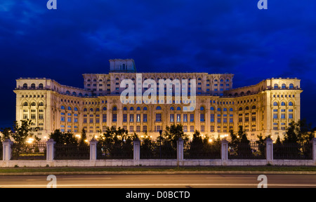 The Palace of the Parliament in Bucharest, Romania is the second largest building in the world, built by dictator - Stock Photo