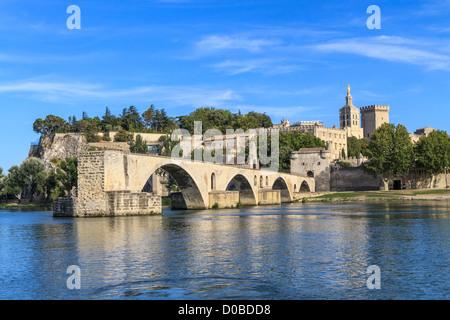 Avignon Bridge with Popes Palace, Pont Saint-Bénezet, Provence, France - Stock Photo